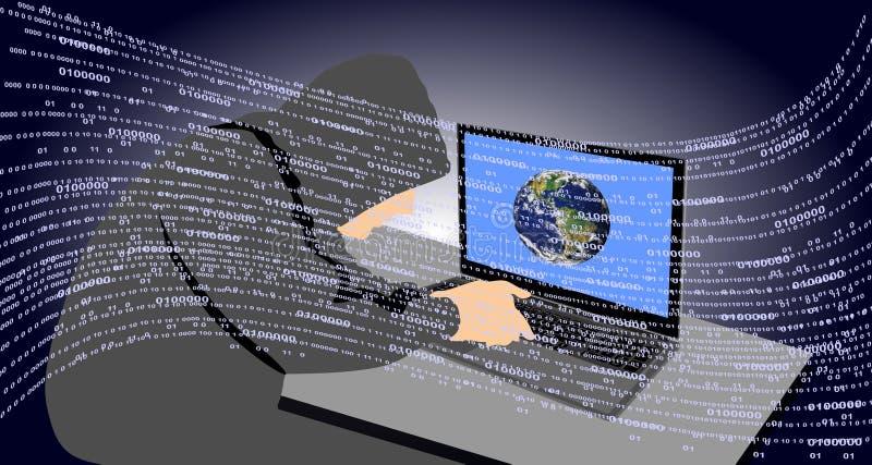 Hacker, der auf einem Laptop schreibt Gefährlich, erzeugt Technologiekommunikation stock abbildung