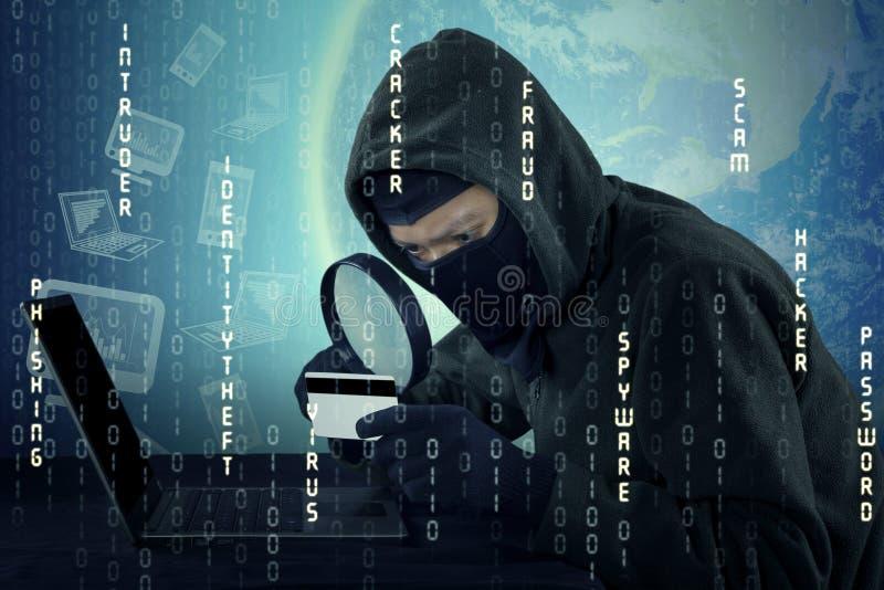 Hacker, der die Kreditkartennummer schaut lizenzfreies stockbild