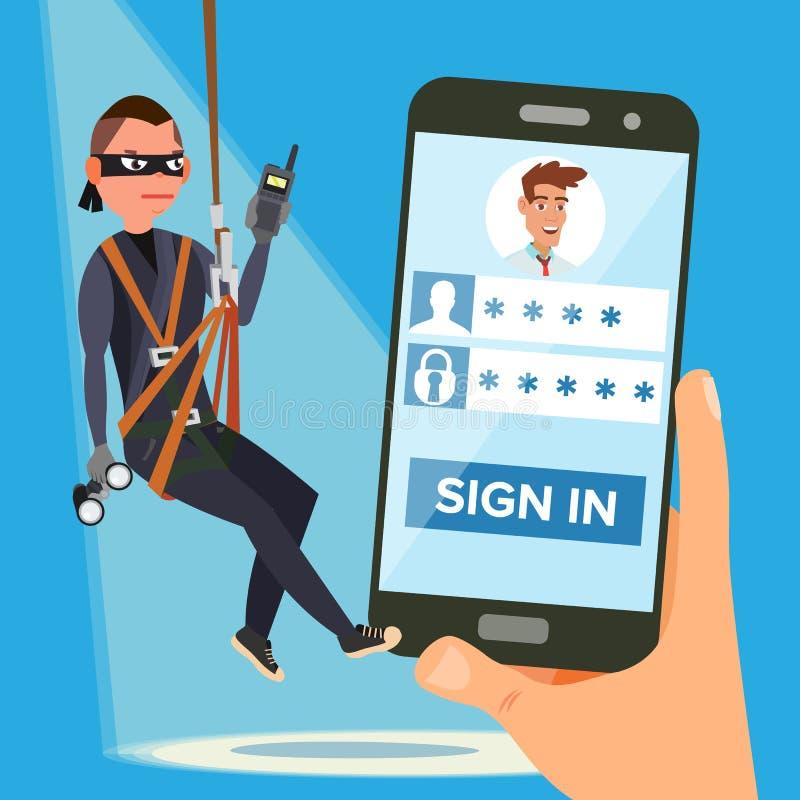 Hacker, der Kennwort-Vektor stiehlt Dieb Character Sprungs-persönliche Information Fischerei des Angriffs zu Smartphone web vektor abbildung