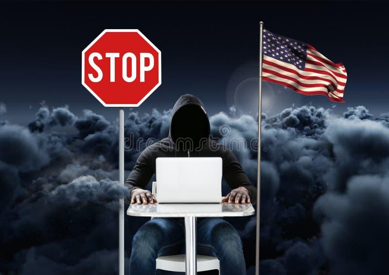 Hacker, der nahe an Laptop zur amerikanischen Flagge und zur Haltetafel mit bewölktem Hintergrund arbeitet vektor abbildung