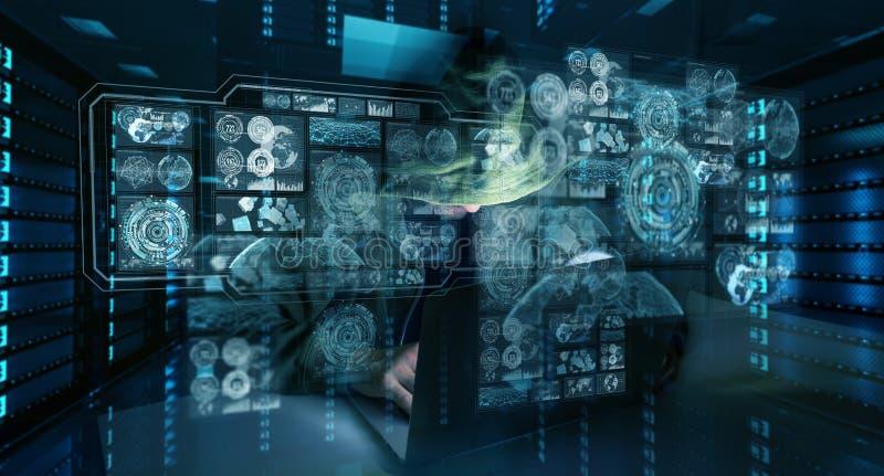 Hacker, der zu den Personendateninformationen mit einem Computer 3D zugreift lizenzfreie abbildung