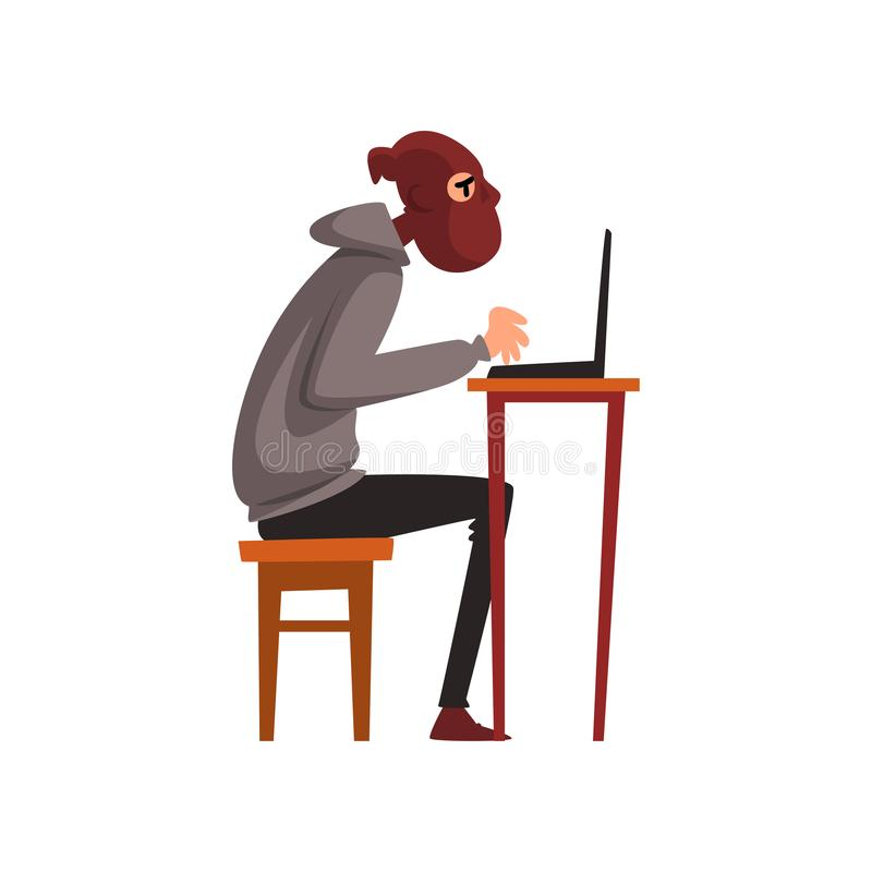 Hacker in Disguise Sitting at Desktop and Working on Laptop, Internet Crime, Computer Security Technology Cartoon Vector royalty free illustration