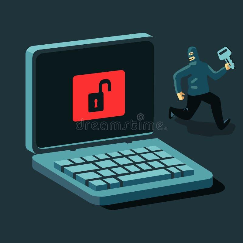 Hacker e chave ilustração do vetor