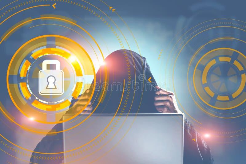 Hacker in einer Stadt, Internetsicherheitsvorhängeschlossschnittstelle lizenzfreie abbildung