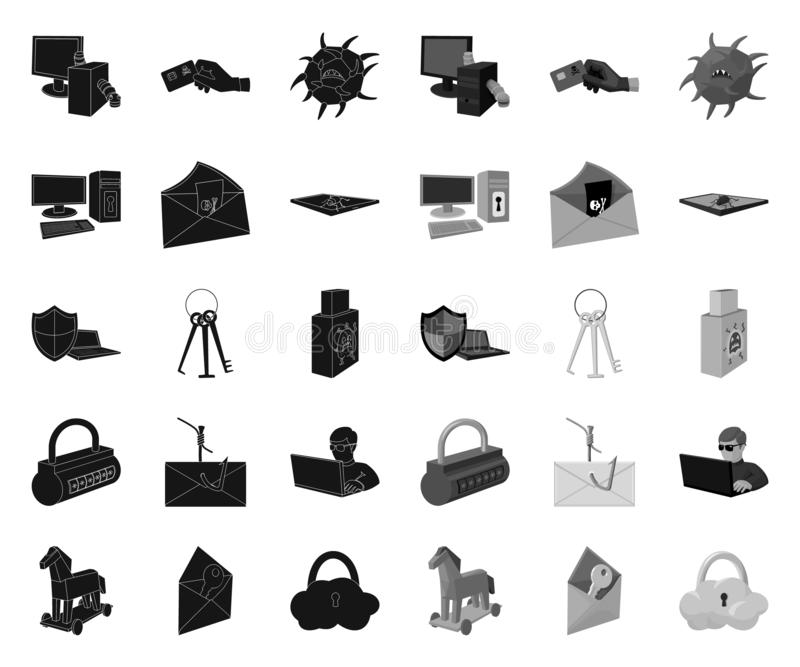 Hacker and hacking black.mono icons in set collection for design. Hacker and equipment vector symbol stock web stock illustration