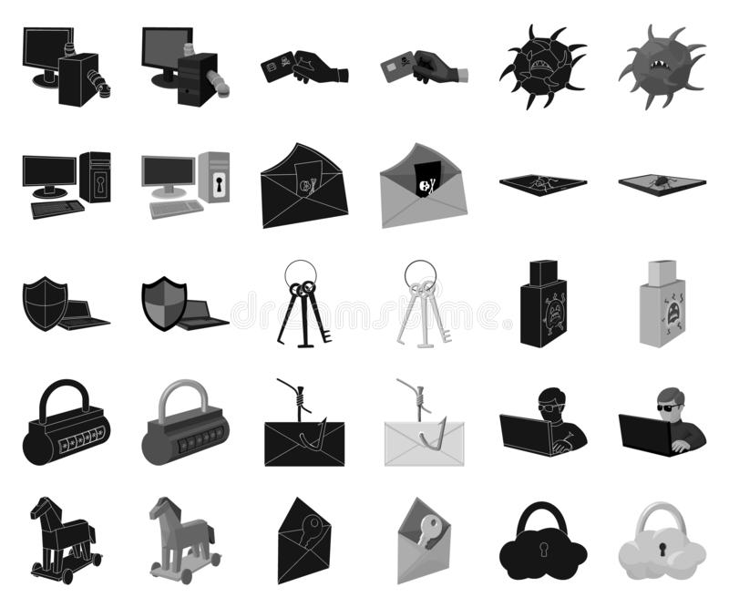 Hacker and hacking black,monochrome icons in set collection for design. Hacker and equipment vector symbol stock web vector illustration