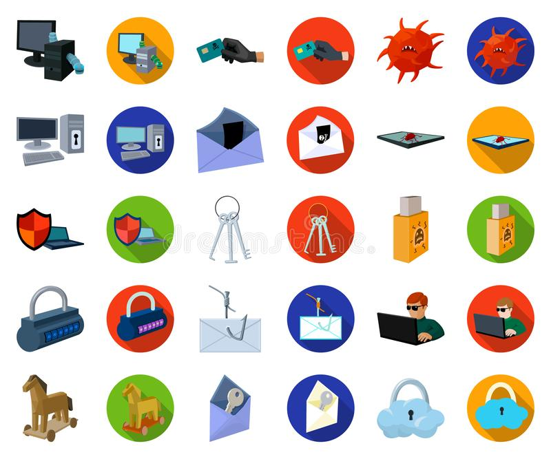 Hacker and hacking cartoon,flat icons in set collection for design. Hacker and equipment vector symbol stock web royalty free illustration