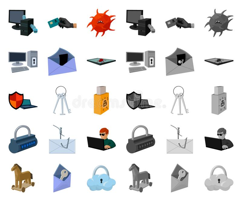 Hacker and hacking cartoon,mono icons in set collection for design. Hacker and equipment vector symbol stock web vector illustration