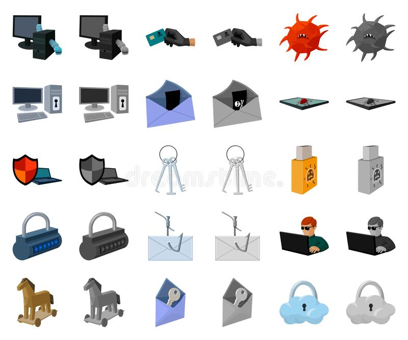 Hacker and hacking cartoon,monochrom icons in set collection for design. Hacker and equipment vector symbol stock web royalty free illustration