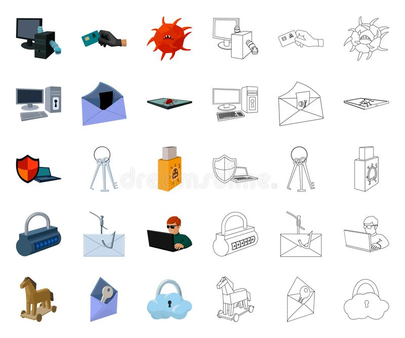 Hacker and hacking cartoon,outline icons in set collection for design. Hacker and equipment vector symbol stock web stock illustration