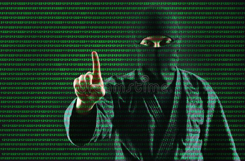 Hacker. Hacking computer data process. Man in the mask works with a digital security code. stock illustration