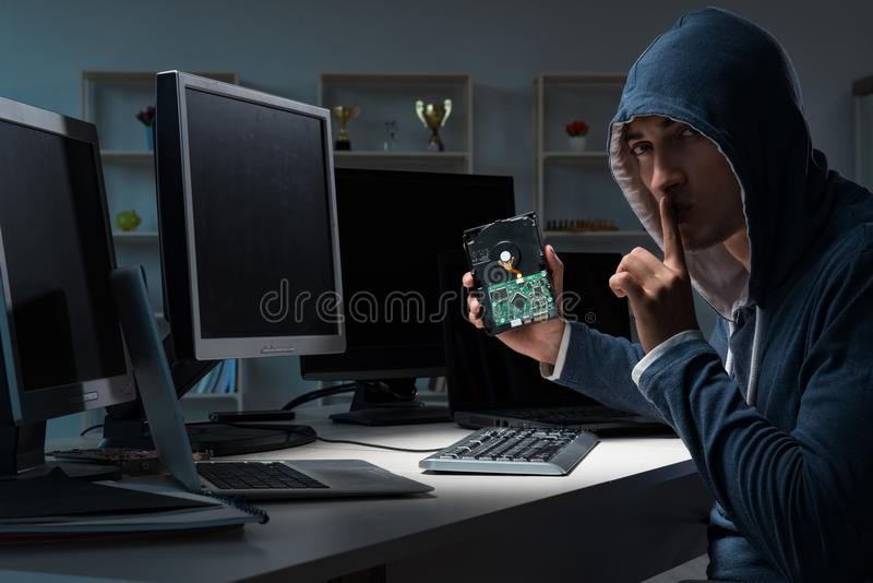 The hacker hacking computer at night. Hacker hacking computer at night stock photos