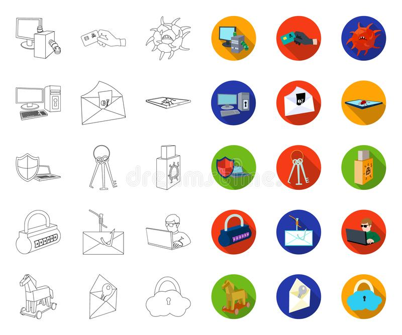 Hacker and hacking outline,flat icons in set collection for design. Hacker and equipment vector symbol stock web stock illustration