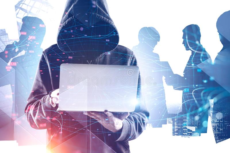 Hacker in hoodie in city, business people stock photography