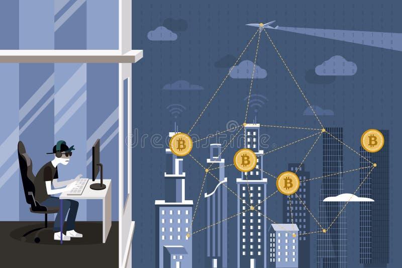 Hacker i Blockchain ochrona royalty ilustracja