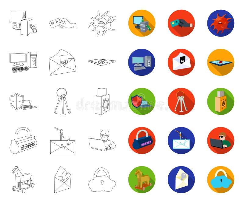 Hacker i sieka? kontur, p?askie ikony w ustalonej kolekcji dla projekta Hackera i wyposa?enia symbolu zapasu wektorowa sie? ilustracji