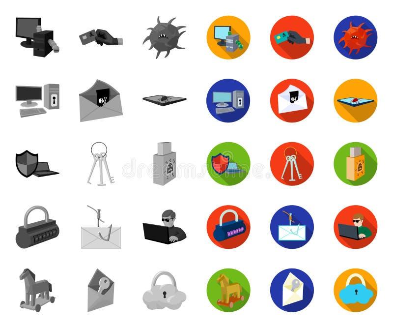 Hacker i siekać mono, płaskie ikony w ustalonej kolekcji dla projekta, Hackera i wyposa?enia symbolu zapasu wektorowa sie? royalty ilustracja