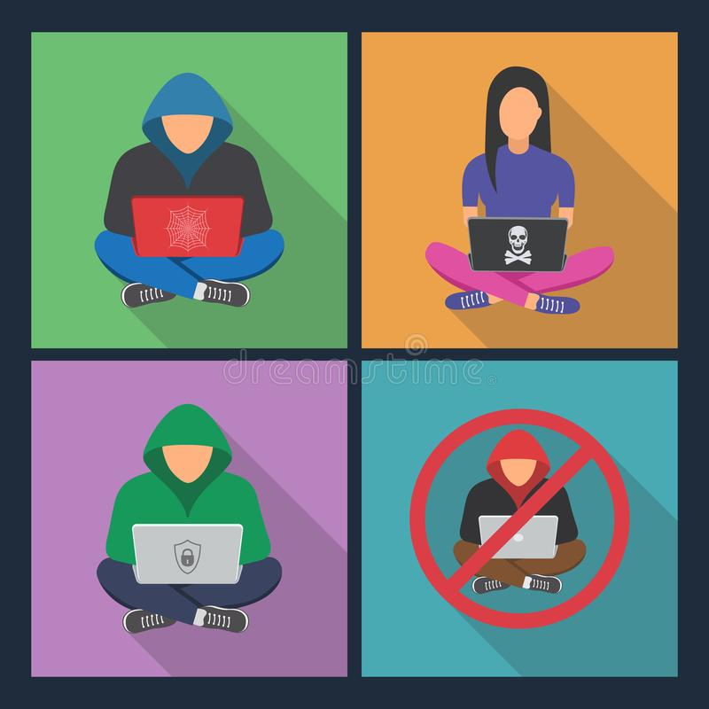 Hacker icons.Hacker with laptop, hacking the Internet vector illustration