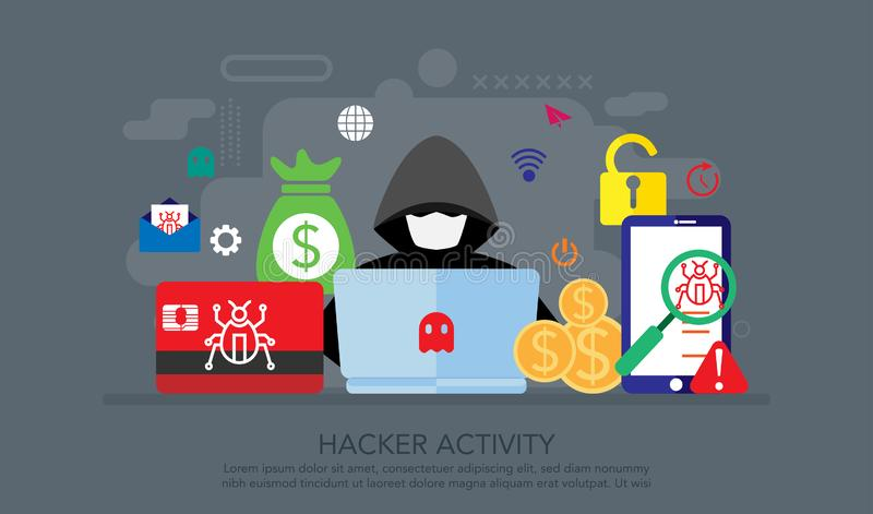 Hacker internet activity. Hacker spam Phishing online threat computer systems Malware cyber attack fraud threat computer wannacry. Suitable for Landing Page vector illustration