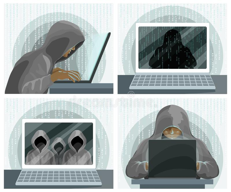 Hacker internet computer security technology concept. Hacker with laptop. And unknown silhouettes on the screen. Vector illustration royalty free illustration