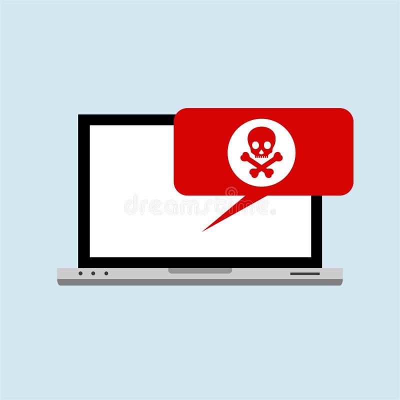 Hacker internet computer security technology flat concept. Hacker activity computer.Alert notification on laptop computer vector,. Malware concept, spam data stock illustration