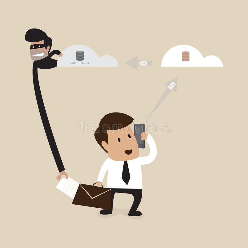 Hacker kraść dane formy biznesmena ilustracja wektor