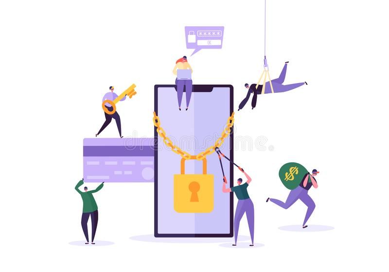 Hacker Kraść hasło i pieniądze od Smartphone Złodziejów charaktery Sieka telefon komórkowego Łowić ataka, oszustwo ilustracja wektor
