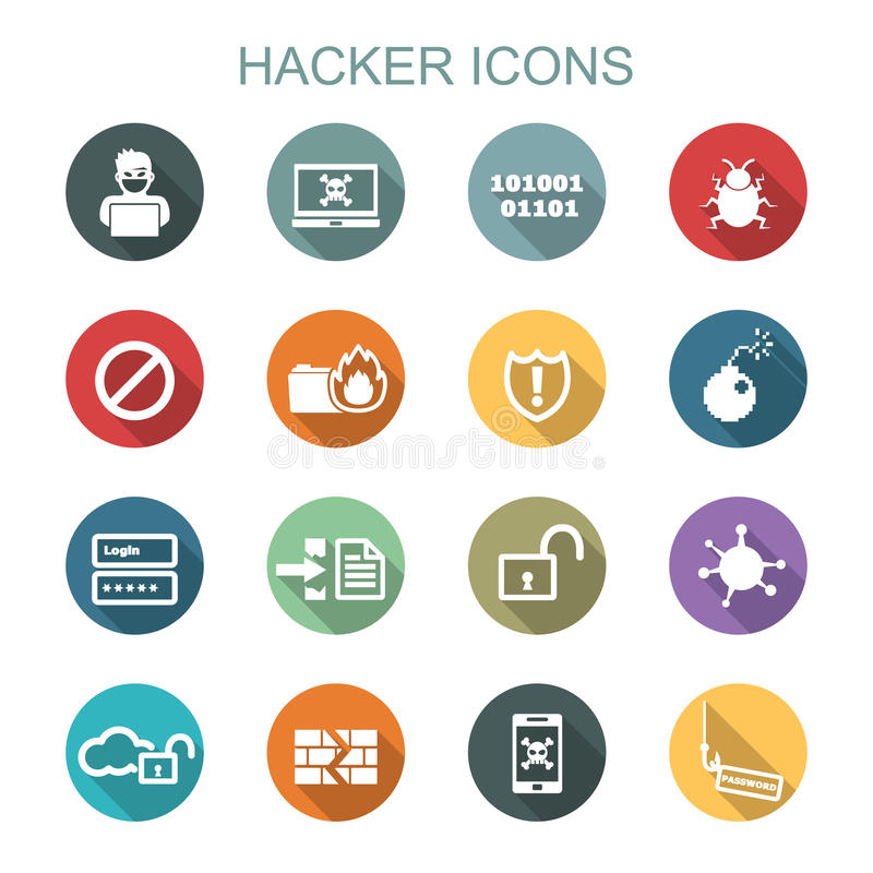 Hacker long shadow icons vector illustration