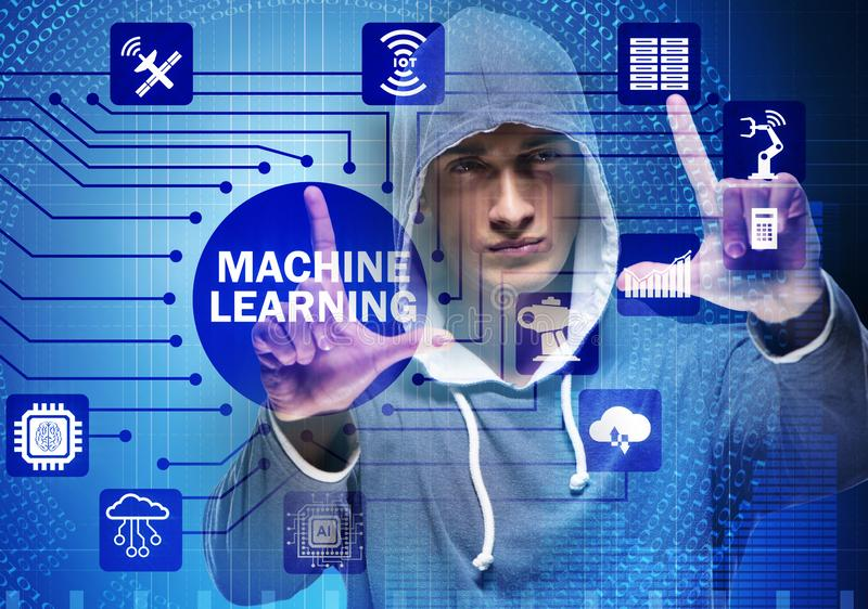 Hacker in machine learning concept. The hacker in machine learning concept royalty free stock image