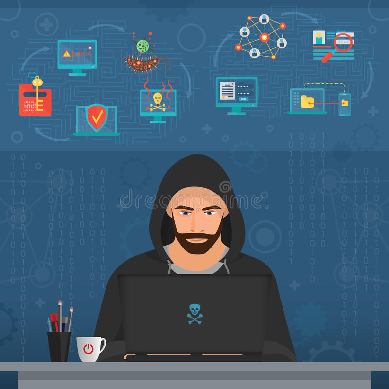 Hacker man hacking secret data on the laptop. Icon set. Modern transperance flat vector illustration. royalty free illustration