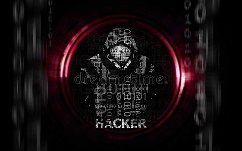 Hacker man in hoodie with laptop flat vector illustration