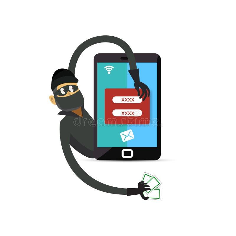 Hacker masculino na segurança preta do telefone celular da roupa e dos cortes da máscara para roubar o número e os dados da senha ilustração stock