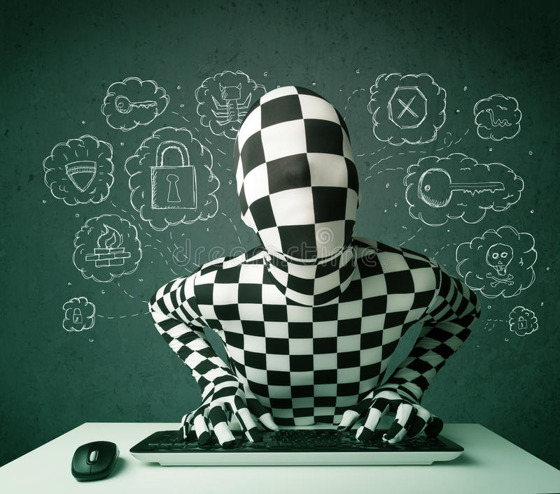 Download Hacker In Mask Morphsuit With Virus And Hacking Thoughts Stock Image - Image: 32997567
