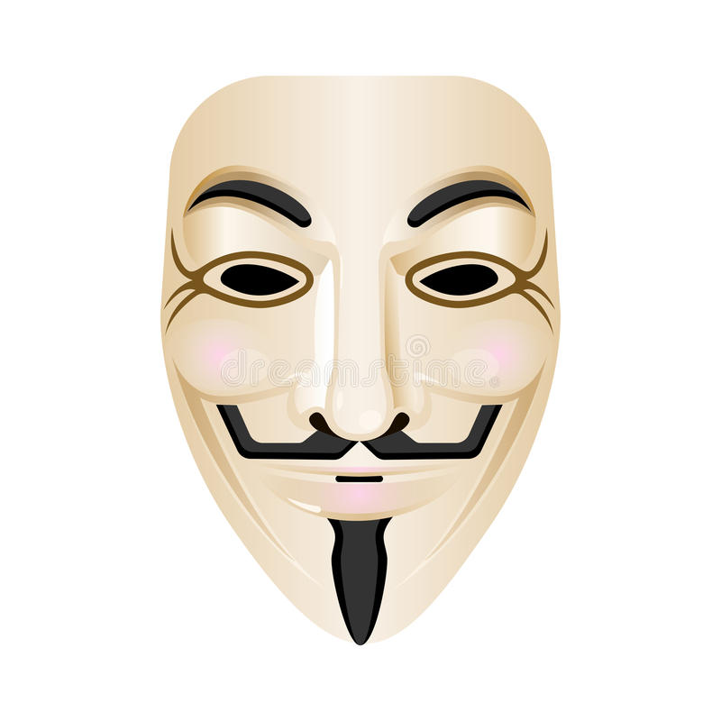Hacker mask vector icon isolated on white. Stylised portrayal. Of face with smile and red cheeks, wide moustache upturned at both ends, thin vertical pointed royalty free illustration