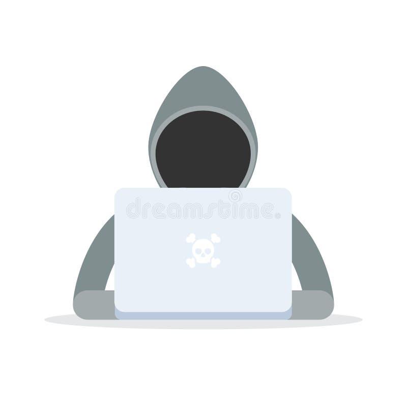 Hacker mit einem Laptop lizenzfreie abbildung