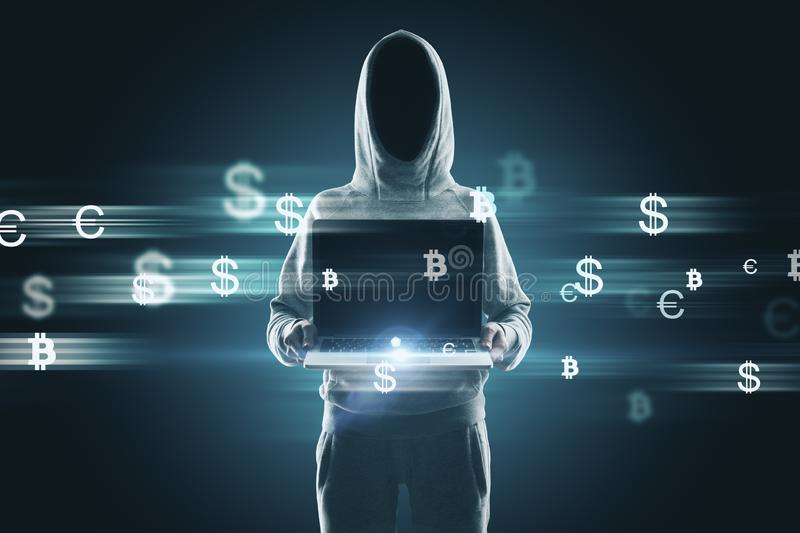 Hacker with money signs royalty free stock image