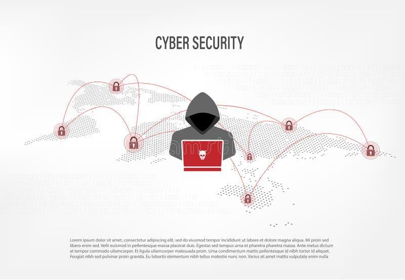 Hacker na światowej mapy cyfrowym tle ilustracja wektor
