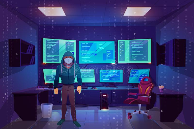 Hacker na sala do servidor, monitores múltiplos do computador ilustração royalty free