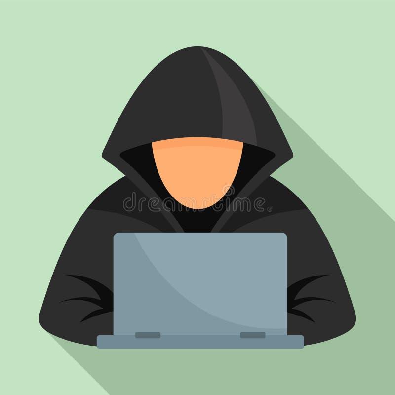 Hacker no ícone do portátil, estilo liso ilustração do vetor