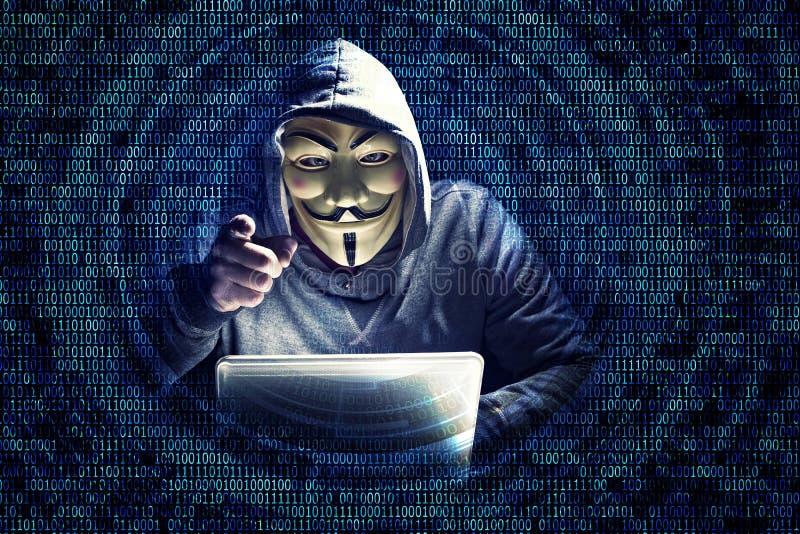 Hacker no trabalho fotografia de stock royalty free
