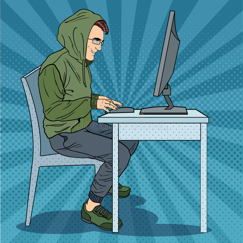 Hacker Okapturzający mężczyzna Kraść informację od komputeru Cyber przestępstwo Wystrzał sztuki retro ilustracja ilustracja wektor