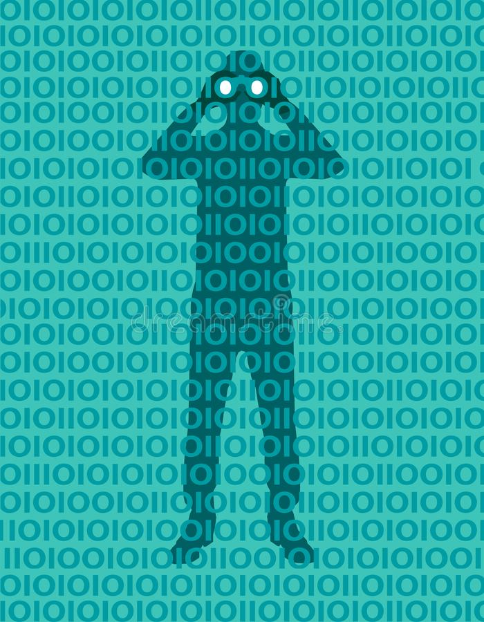Hacker person spying data in the network. Privacy violation. Access to the network.Man with binoculars hidden behind binary number royalty free illustration