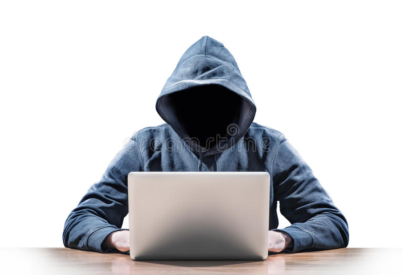Hacker. Picture of a hacker on a laptop