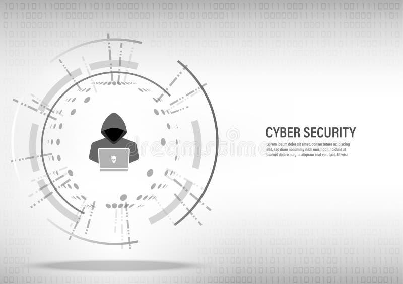 Hacker pracuje na cyfrowym białym tle ilustracja wektor