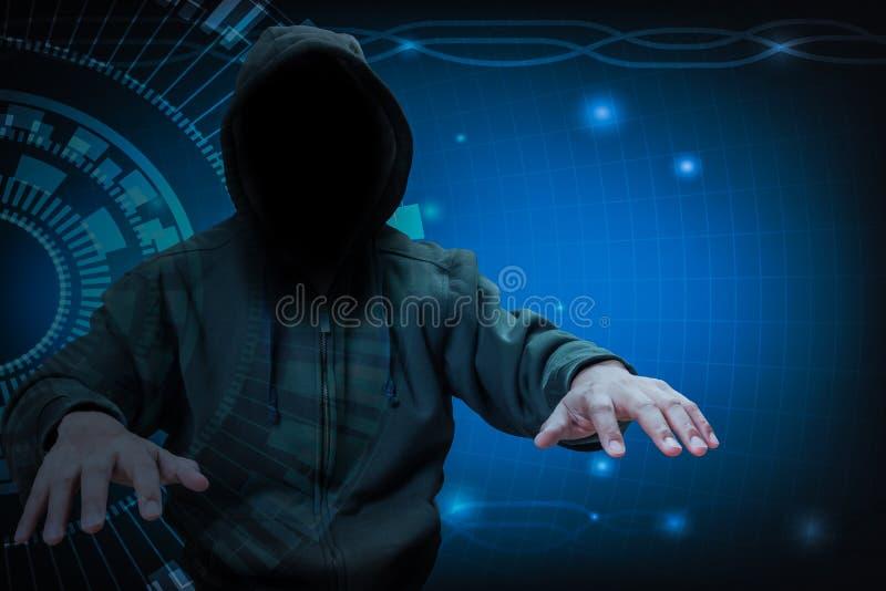 Hacker pracuje na internecie dla cyber przestępstwa pojęcia ilustracja wektor