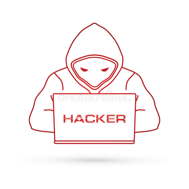 Hacker pracuje na laptopie ilustracji