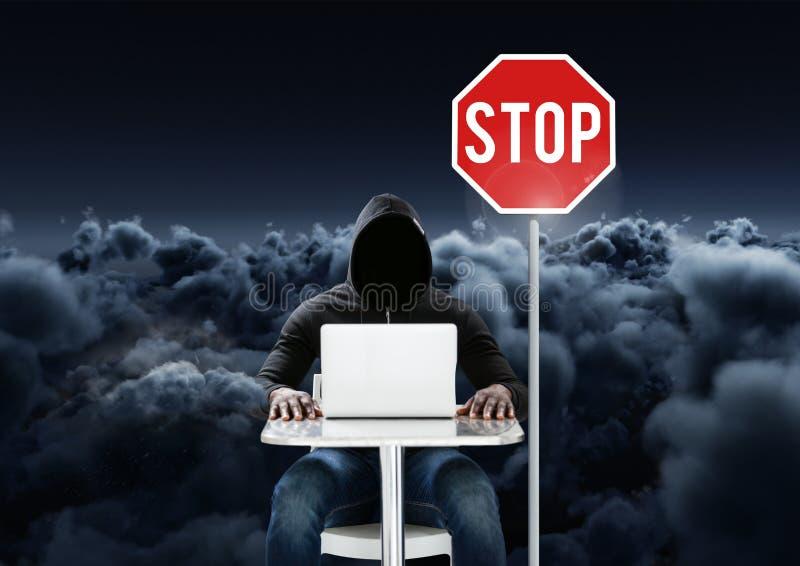 Hacker pracuje na laptopie blisko do przerwy deski przed chmurnym tłem ilustracji