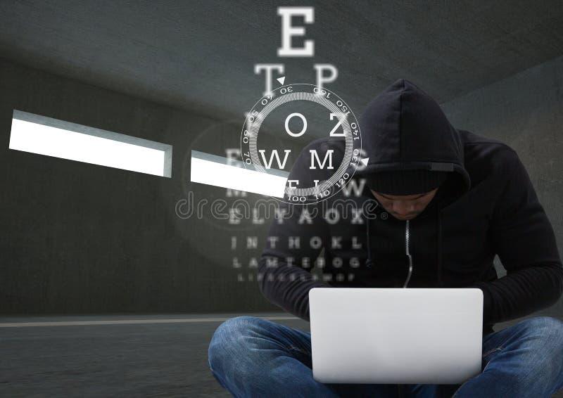 Hacker pracuje na laptopie w ciemnym pokoju za cyfrowymi świętymi pismami royalty ilustracja