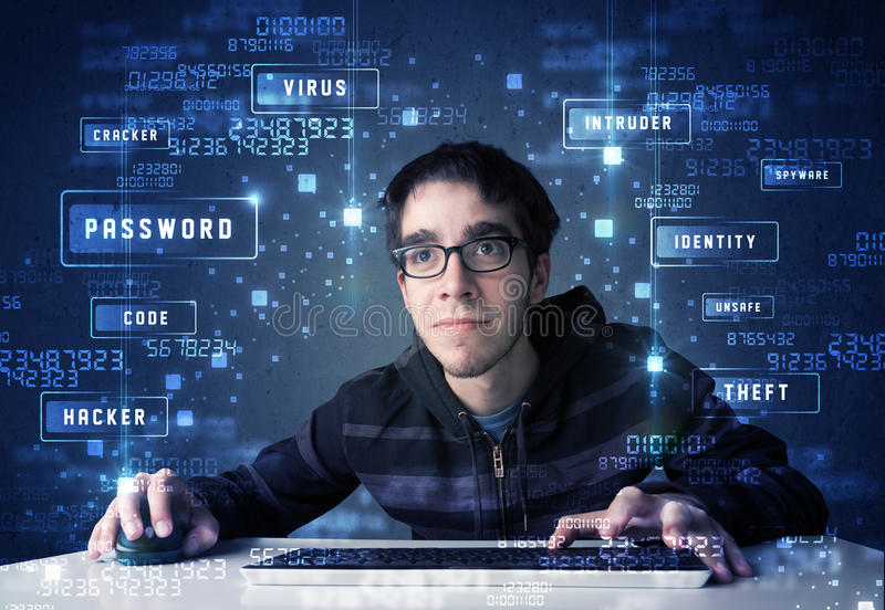 Hacker programing in technology enviroment with cyber icons. And symbols royalty free stock image