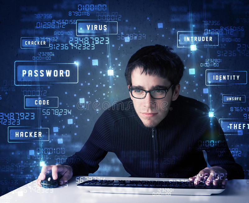 Hacker programing in technology enviroment with cyber icons. And symbols royalty free stock photography